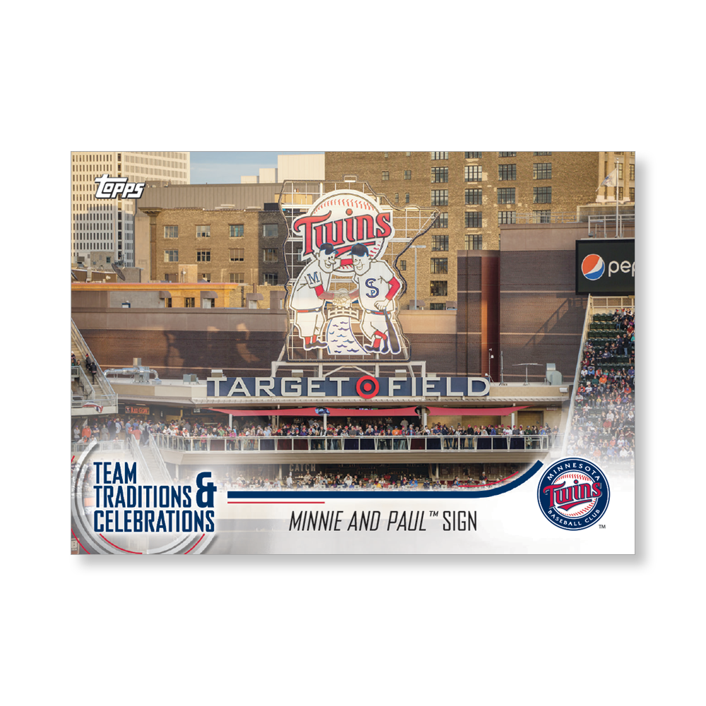 Minnie and Paul Sign 2018 Topps Opening Day Baseball Team Traditions and Celebrations Poster - #'d to 99