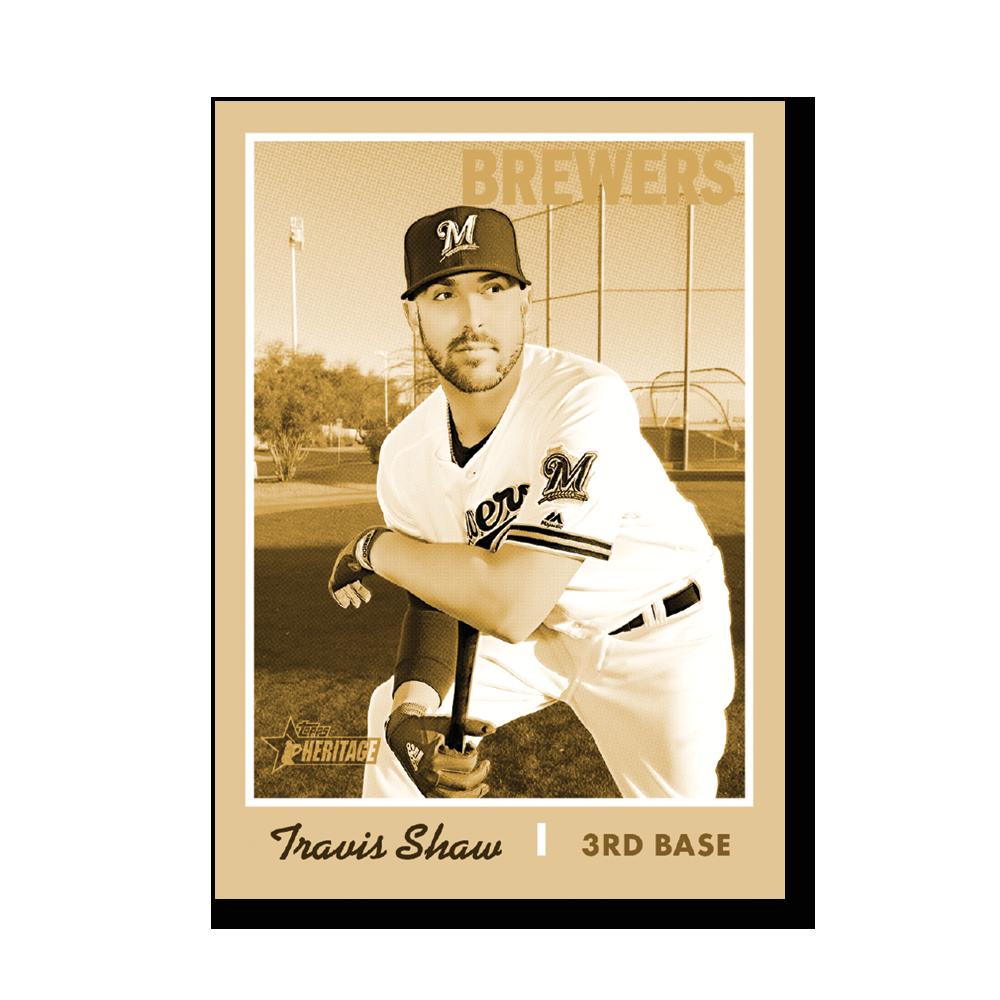 Travis Shaw 2019 Heritage Baseball Base Poster Gold Ed. # to 1