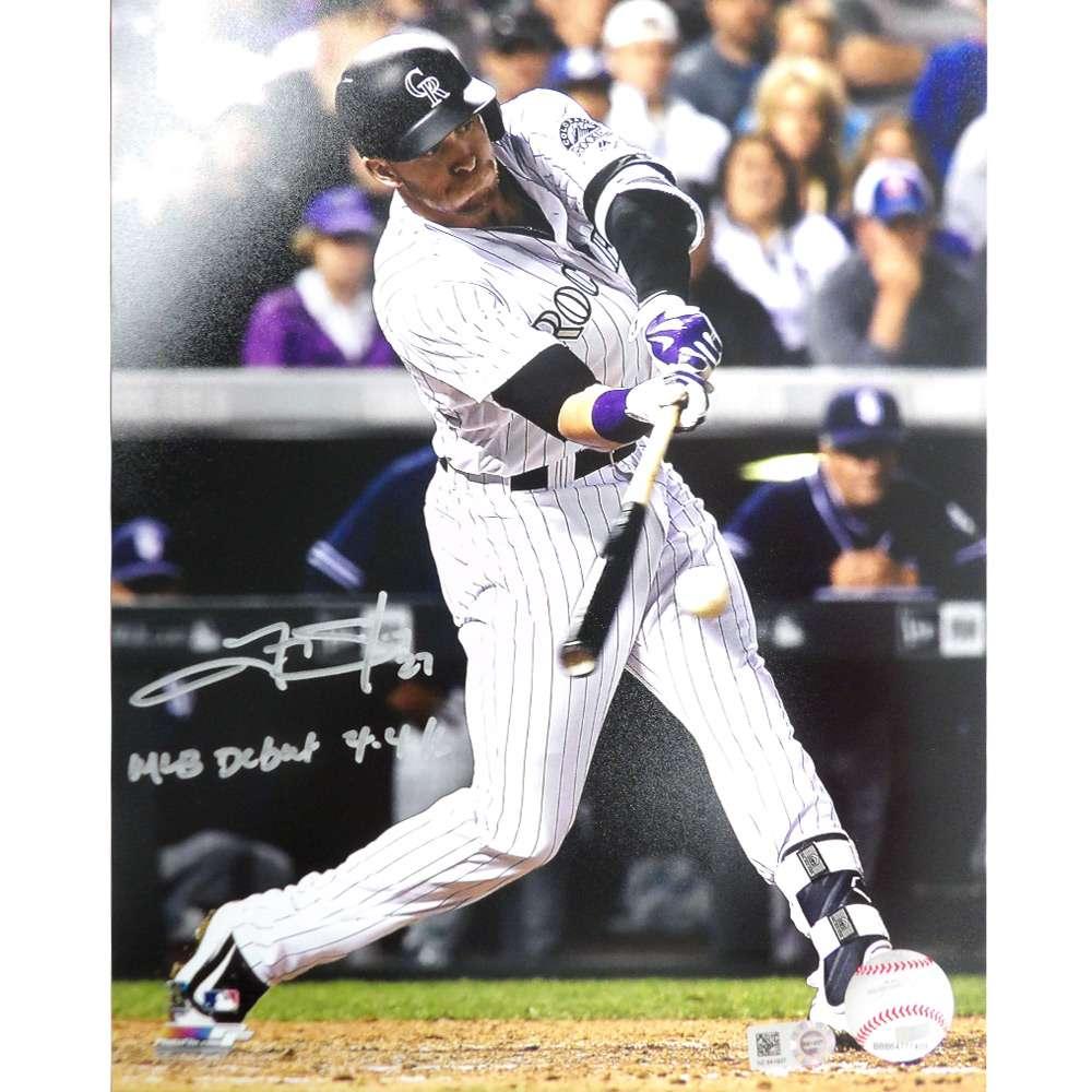 Trevor Story Autographed Photo - 2016 8x10 'Swinging' 'MLB Debut' Inscription