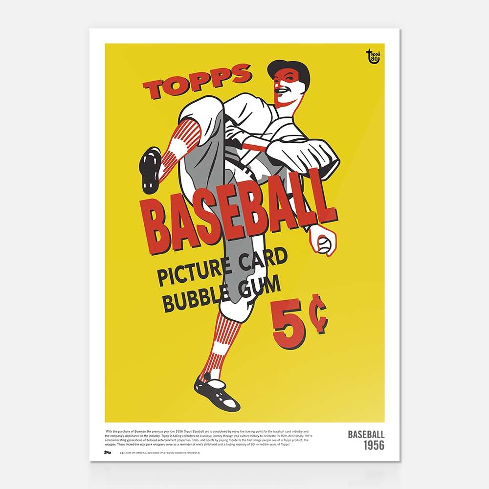This year, Topps is excited to celebrate its 80th Anniversary with exclusive posters that takes collectors on a unique journey through history. As we celebrate generations worth of pop culture and sports, we are paying tribute to the first image people see of a product: the wrapper. More than packaging, the wax packs served to advertise the product as it sat on store counters and shelves around the country. The incredible artwork serves as a reminder of one's childhood and a lasting memory of 80 incredible years of Topps! Wall Art featuring wrapper art work from Topps 80 Year History. Product Specs: 10 x 14 Poster Printed on vintage chipboard trading card stock Archival inks for lasting color fidelity Product ships within 3-5 days ALL SALES ARE FINAL. ART SUBJECT TO CHANGE. NOT RESPONSIBLE FOR TYPOGRAPHICAL/PRINTER ERRORS