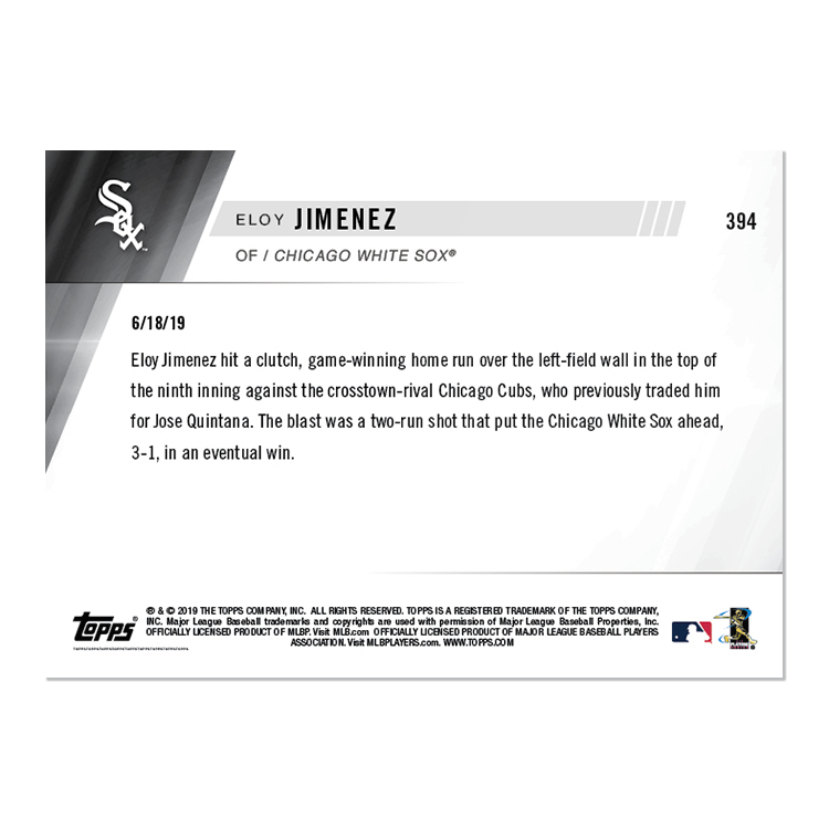 Eloy Jimenez - MLB TOPPS NOW® Card 394 - Print Run: 411