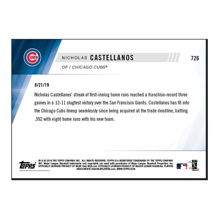 Nicholas Castellanos  - MLB TOPPS NOW® Card 726 - Print Run: 290