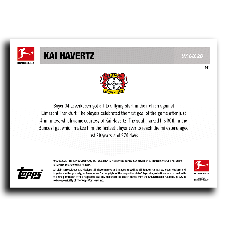 youngest player to hit 30 bundesliga goals bundesliga topps now card 141 print run 136 youngest player to hit 30 bundesliga goals bundesliga topps now card 141 print run 136