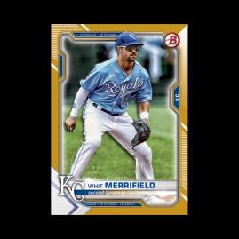 Whit Merrifield 2021 Bowman Baseball Base Card Poster Gold Ed. # to 1