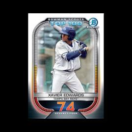 Xavier Edwards 2021 Bowman Baseball Bowman Scouts Top 100 Poster # to 99