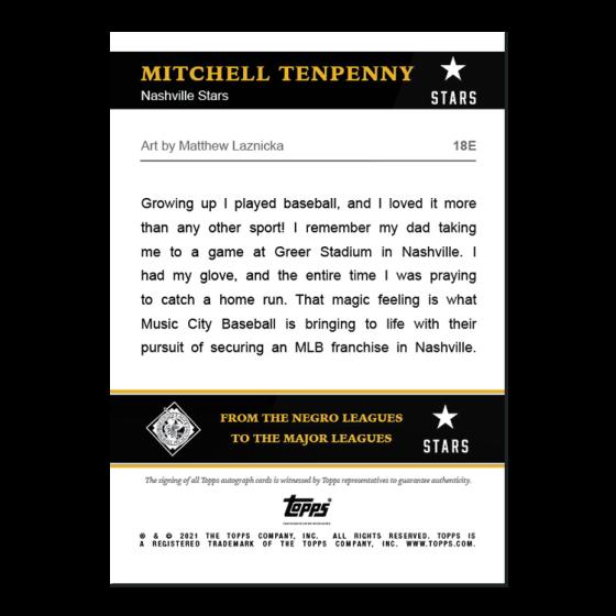 2021 Topps x Nashville Stars - Mitchell Tenpenny - On-Card Auto # to 5