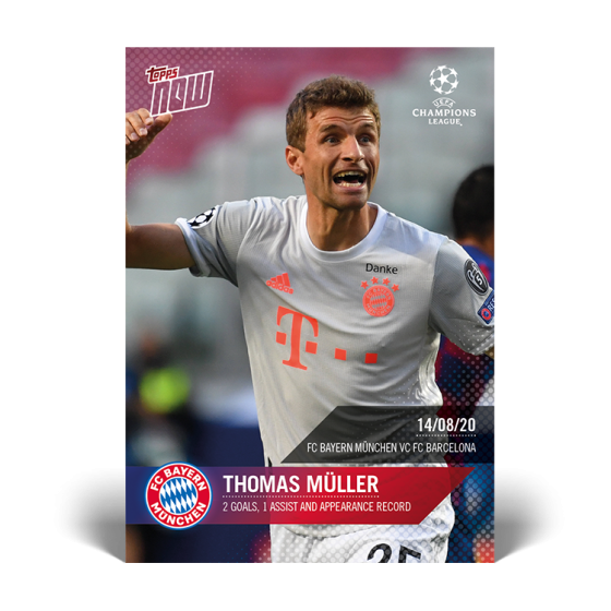 Topps Now UCL-Card 70-Thomas Müller-Bayern Munich-Appearance record