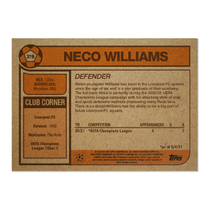 Topps UCL Living Set Card #319 - Neco Williams