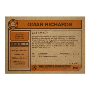 Topps UCL Living Set Card #375 - Omar Richards