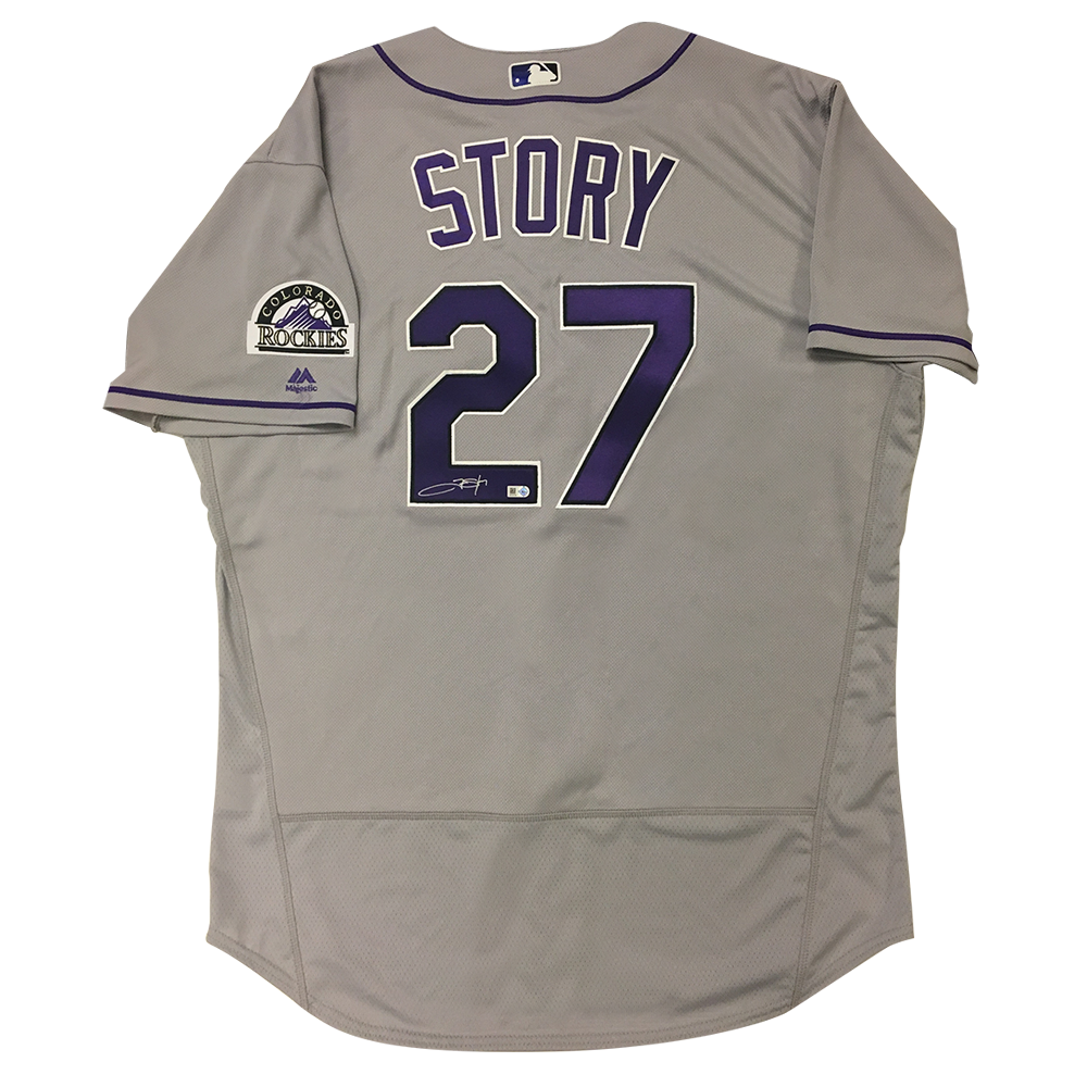 Trevor Story Autographed Rockies Authentic Jersey - 2016 Road (Grey)