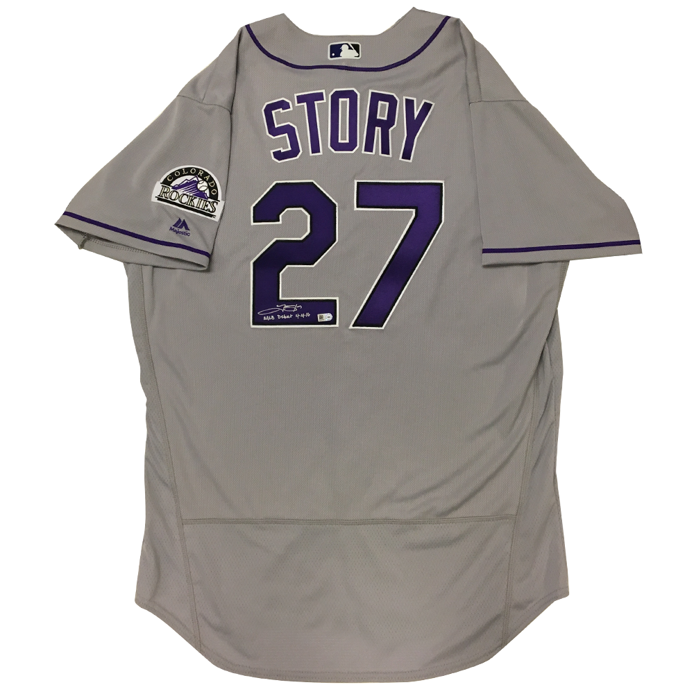 Trevor Story Autographed & Inscribed Rockies Authentic Jersey - 2016 Road (Grey)
