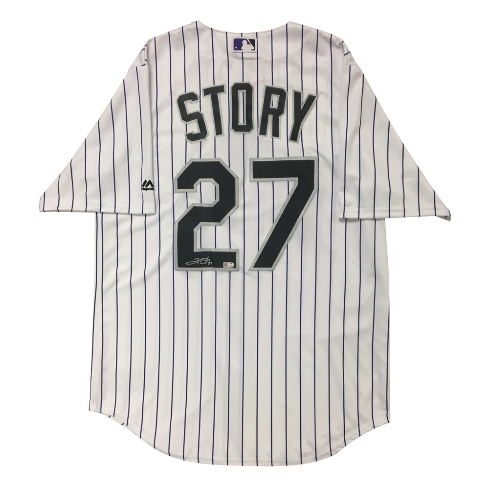 Trevor Story Autographed Rockies Authentic Jersey - 2016 Home (White Pinstripes)