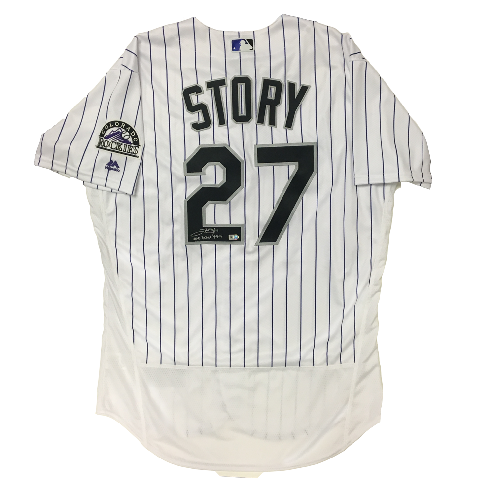Trevor Story Autographed & Inscribed Rockies Authentic Jersey - 2016 Home (White Pinstripes)